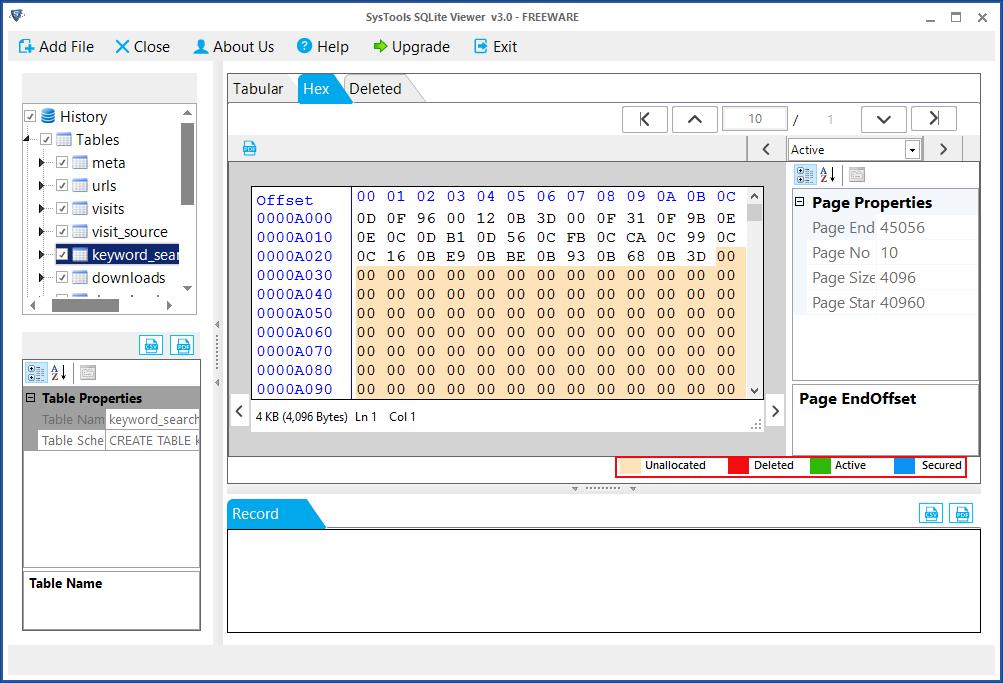 Файл SQLite удаленных записей