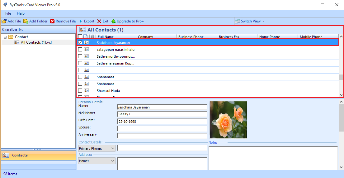 Browse the CSV file