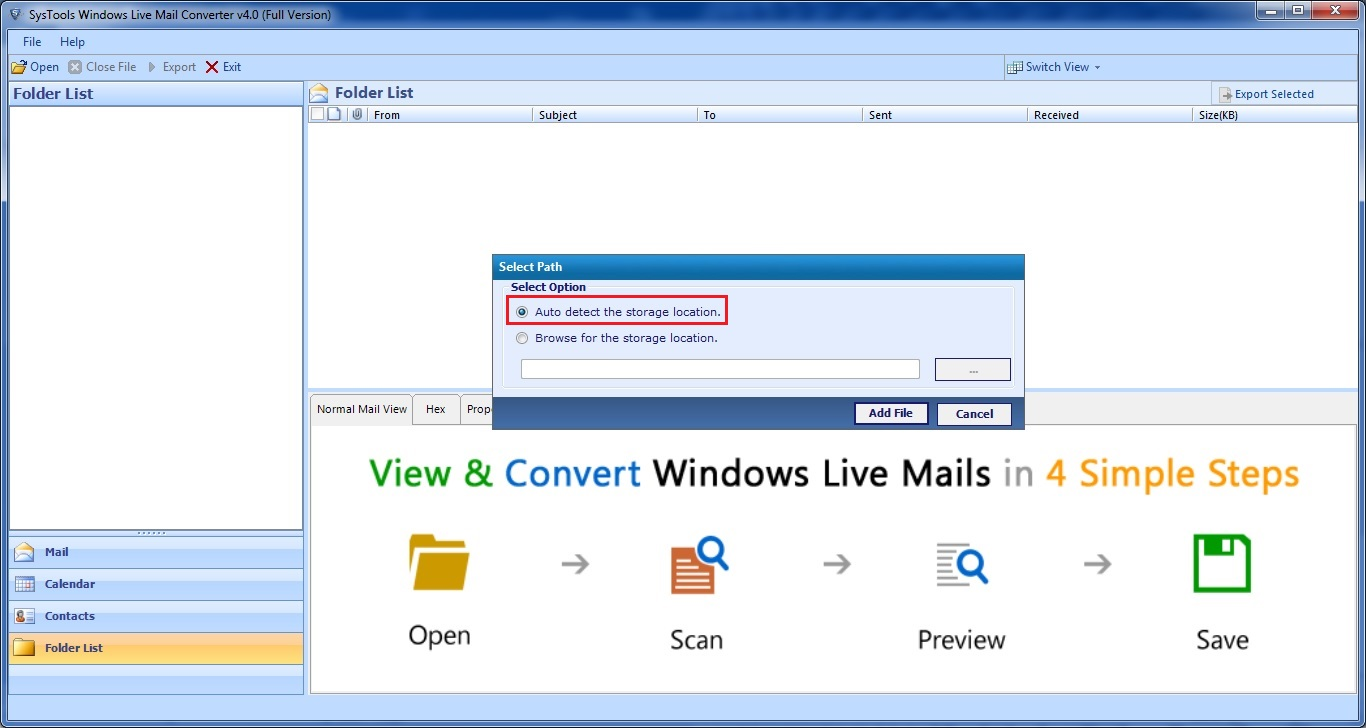 browse windows live mail data