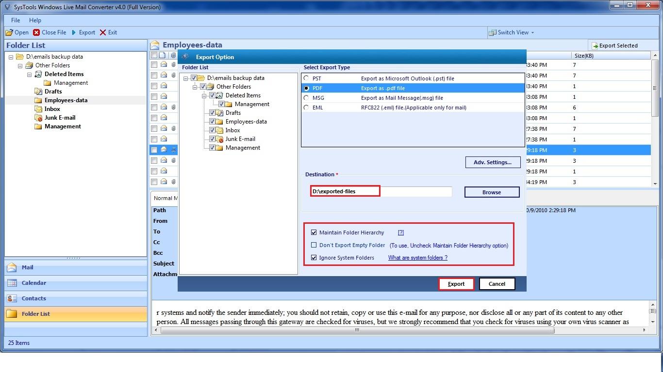 Windows Live Mail to PDF free