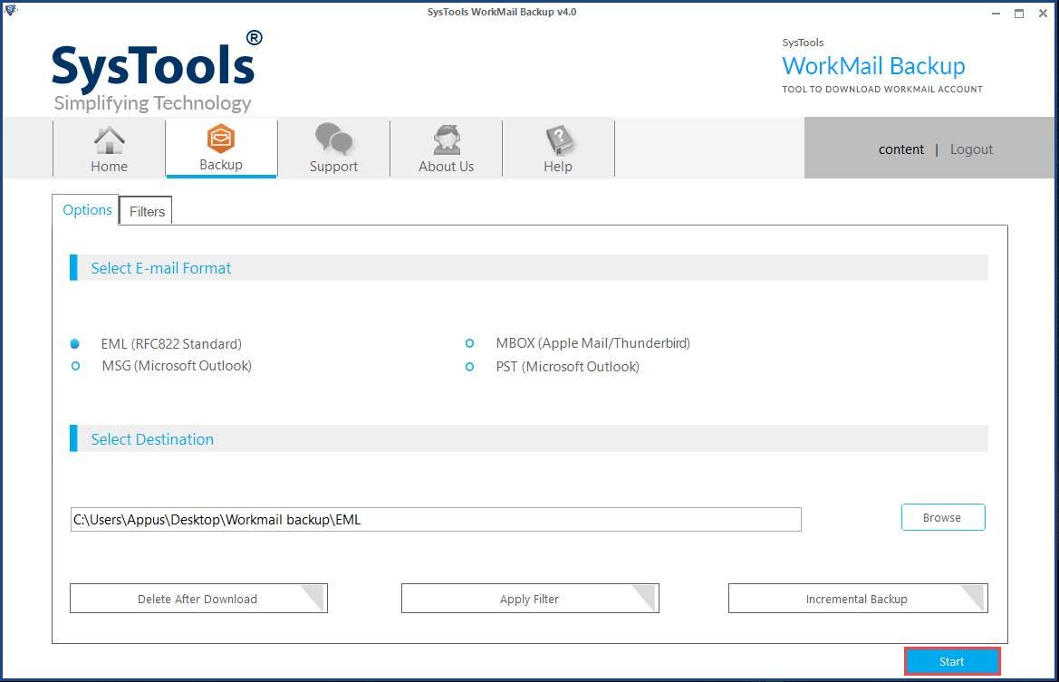 Successfully Backup AWS WorkMail Account Emails