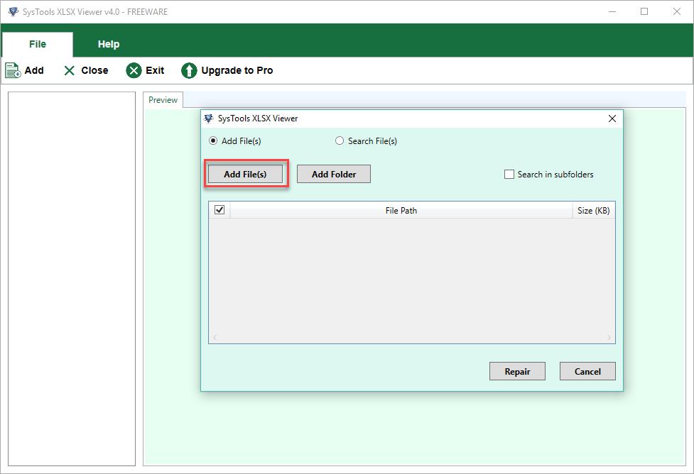 choose Add File, Add Folder & Search Drives