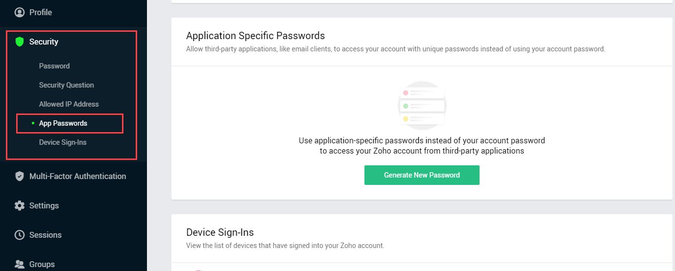 account security section