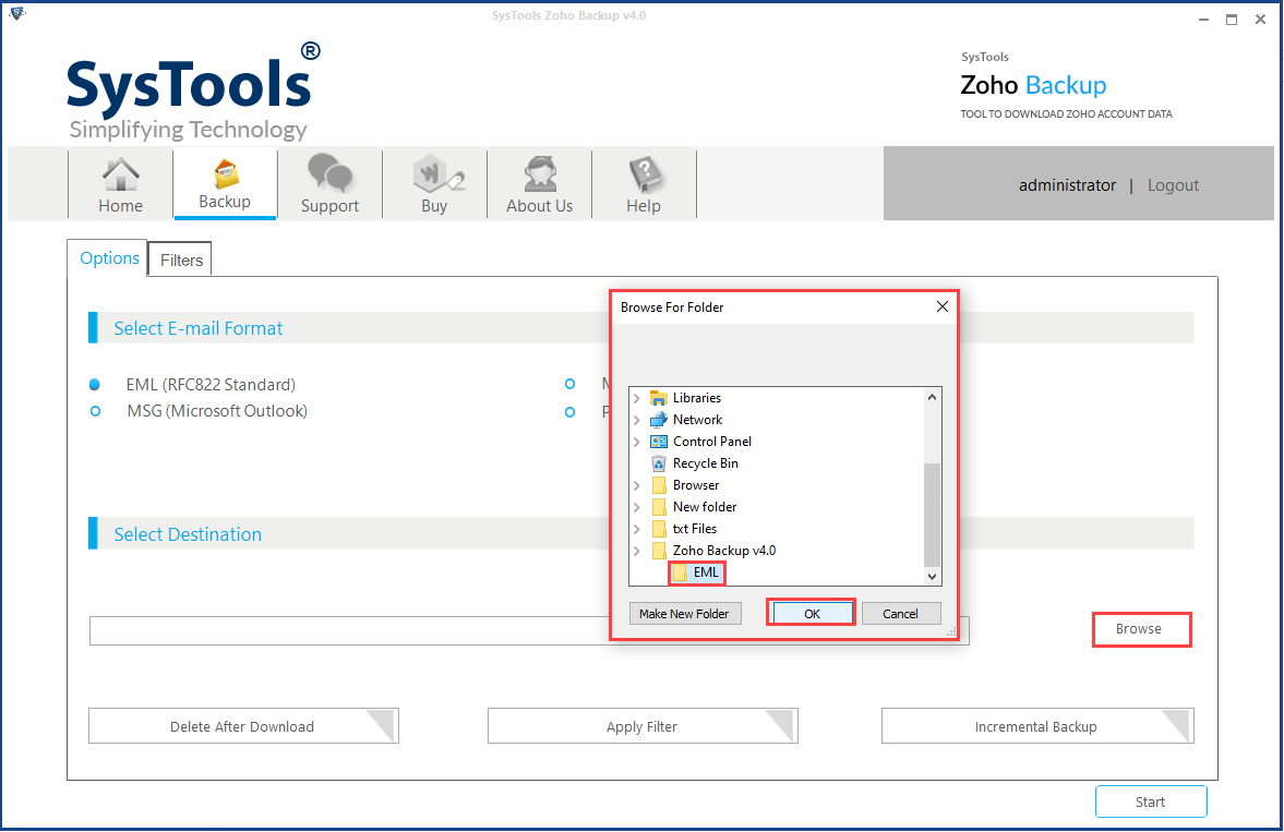 transfer emails from zoho mail account