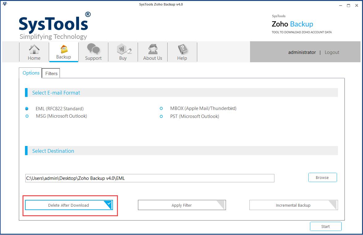 Delete after download option