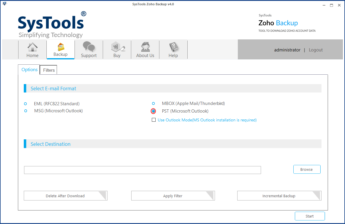 migrate zoho mail to office 365 via pst