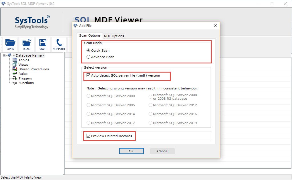 browse corrupt MDF file