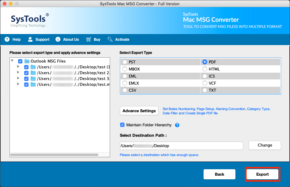 export MSG files to PDF