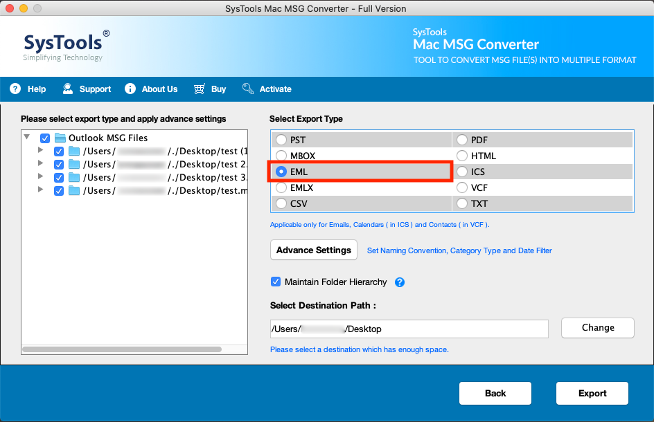 Run MSG to EML Converter Tool