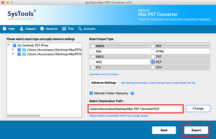 pst contacts to vcf