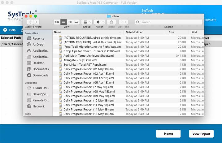 exported EML data