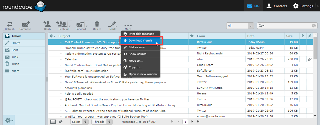 Import Roundcube Webmail Emails to Gmail Using Import/Export