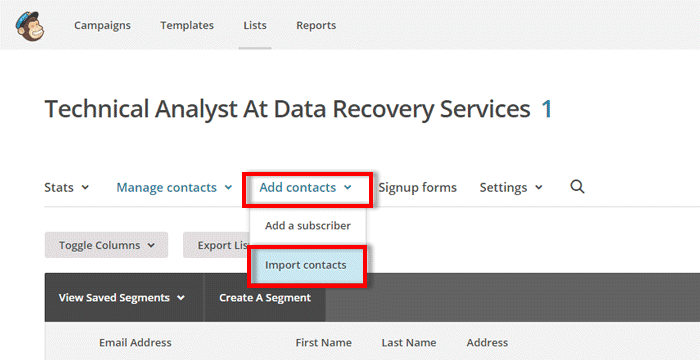 import contacts to mailchimp from linkedin