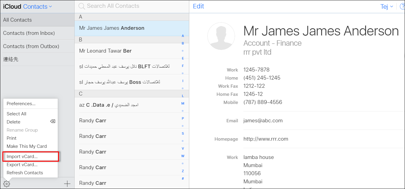 import excel file into iphone contacts