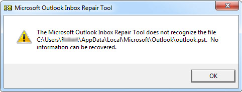 Inbox Repair Tool does not Recognize