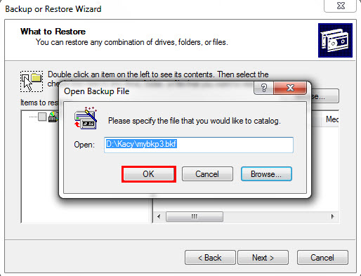 backup and restore wizard