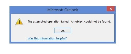 Fix Outlook Error – The operation failed. An object could not be found –  SysTools Software
