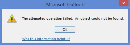 Fix Outlook Error \u2013 The operation failed. An object could not be found
