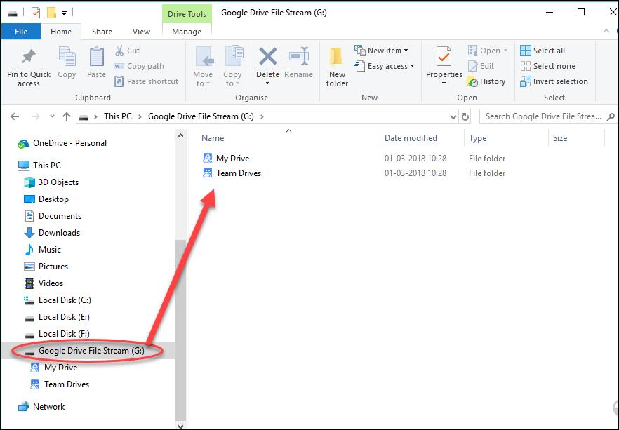 google drive file stream offline files location