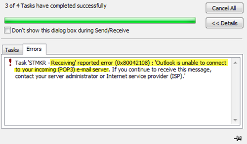 Fix Outlook is Unable to Connect to Your Incoming (POP3) Email Server