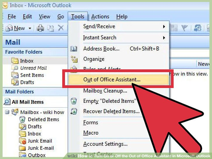 microsoft outlook out of office message 2007