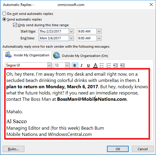 how to setup microsoft outlook 2013 out of office reply