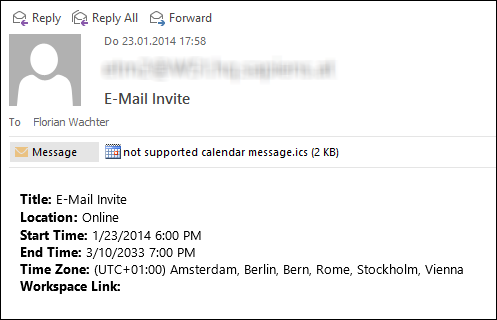 Fix Not Supported Calendar Message ics in Outlook 365, 2016