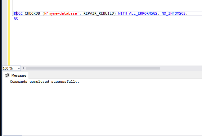 Use Repair_Rebuild to fix SQL Server 2014 Database