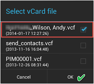 Select vCard file