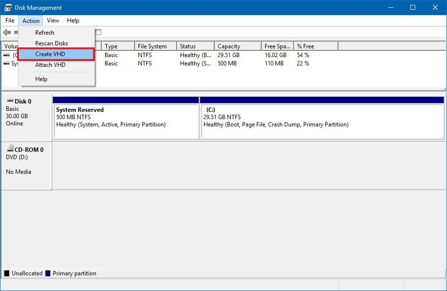 How to Create and Mount VHD / VHDX File in Windows 10 – Step