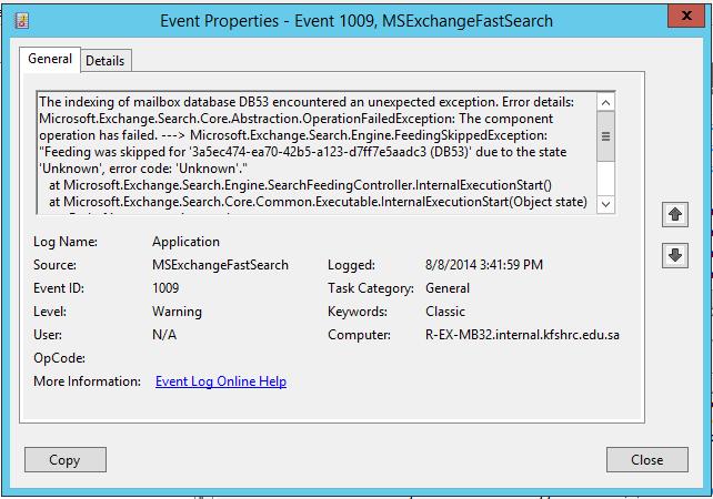 exchange error 1009