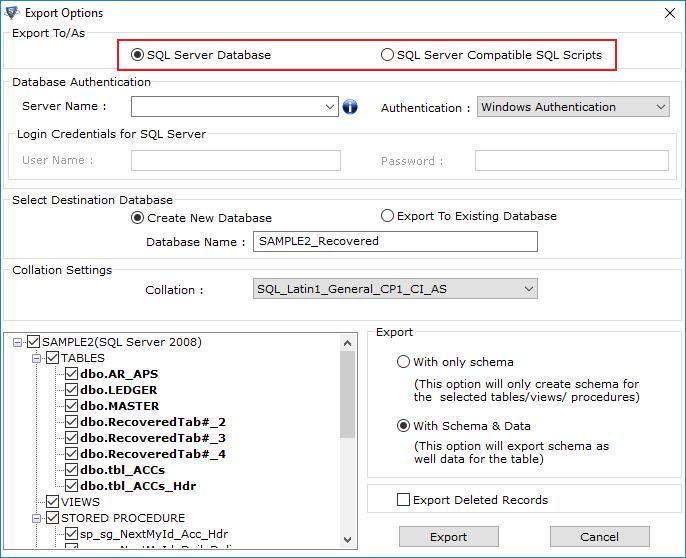 Export SQL Database Files