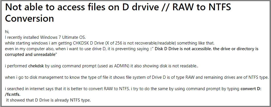 How do I Change a file from RAW to NTFS File System?