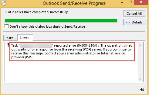 Resolve Outlook Timeout Error 0x8004210a – Multiple Methods