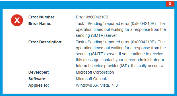 Resolved: Sending reported error 0x8004210b in Outlook