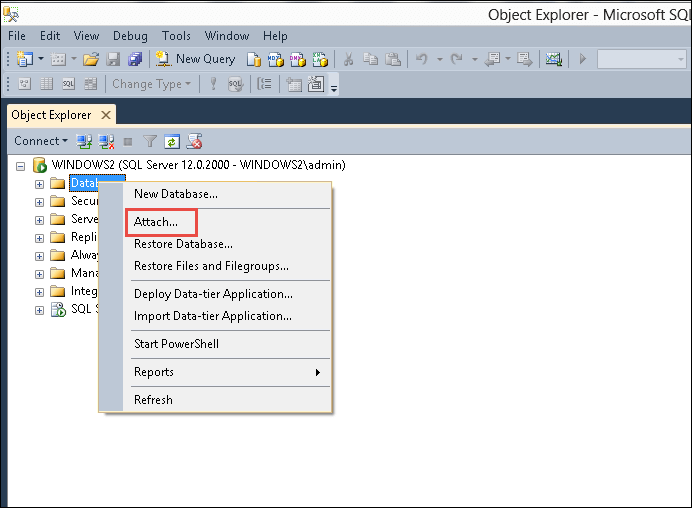 Attach MDF without LDF File