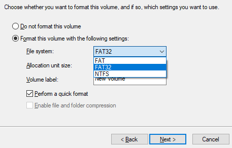 convert raw to fat32 diskpart
