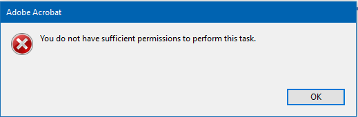 You Do Not Have Sufficient Permissions To Perform This Task Acrobat
