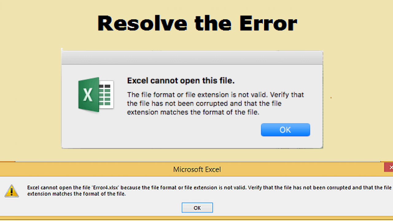 Fix Excel Cannot Open the File 'file xlsx' Because the File Format