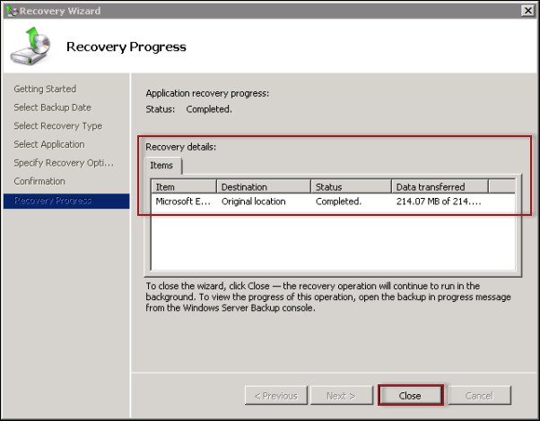 restore mailbox from backup exchange 2010