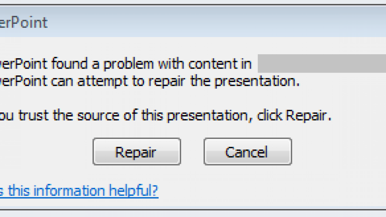 Fixed] PowerPoint (PPTX) Found A Problem with Content in the File Error