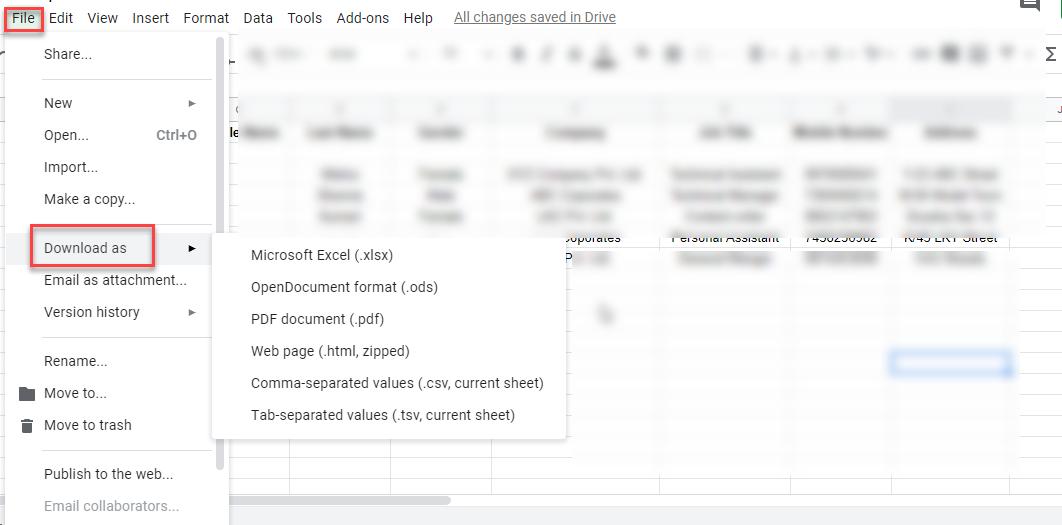 export Google Sheet to vCard