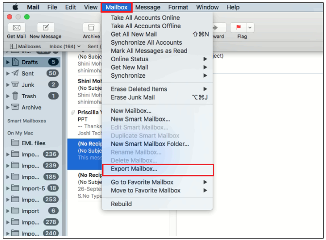apple mail export mailbox with attachments