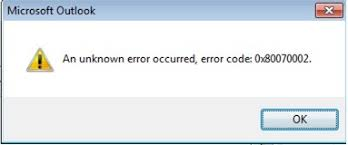 Solution to Fix Unknown Outlook Error Code 0x80070002 in Windows OS