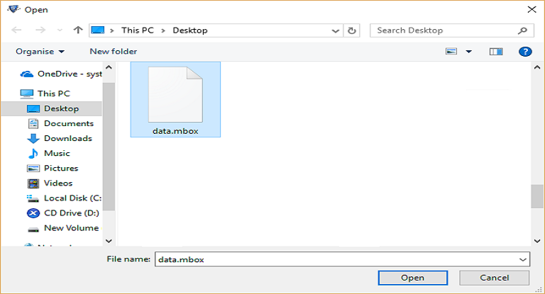 Open MBOX file