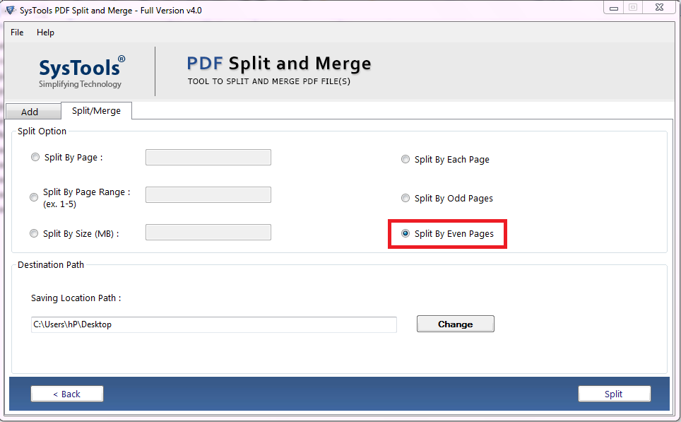 split even pages in pdf