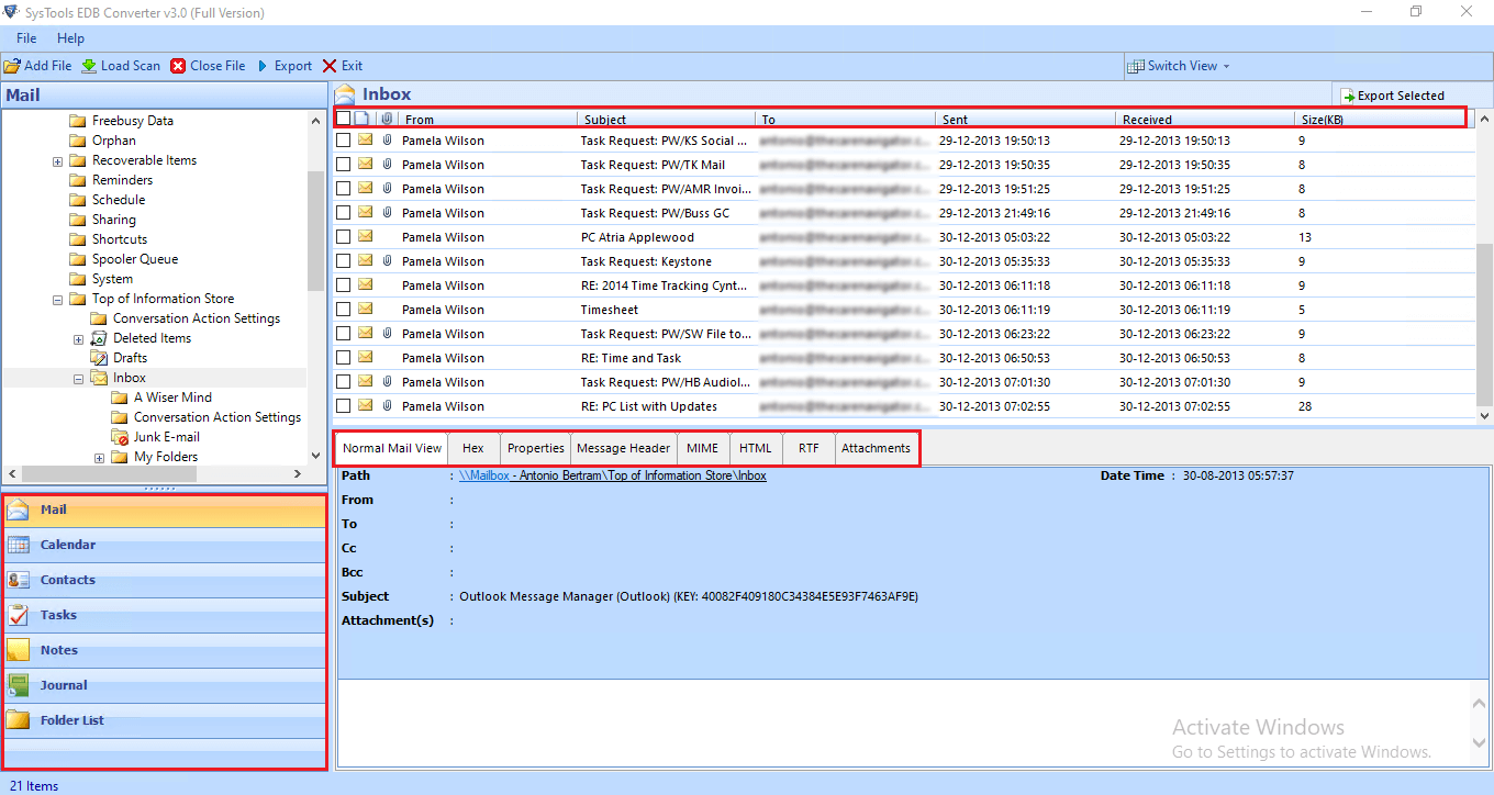 preview ms exchange edb file