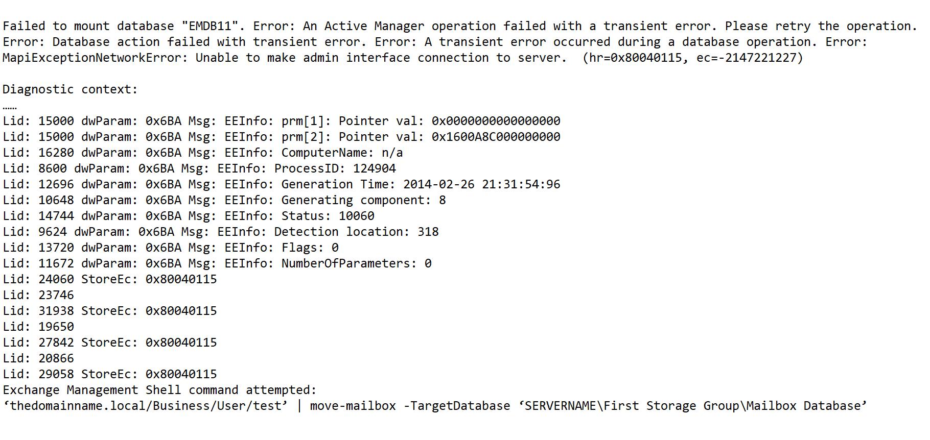 mapiexceptionnetworkerror unable to mount database error