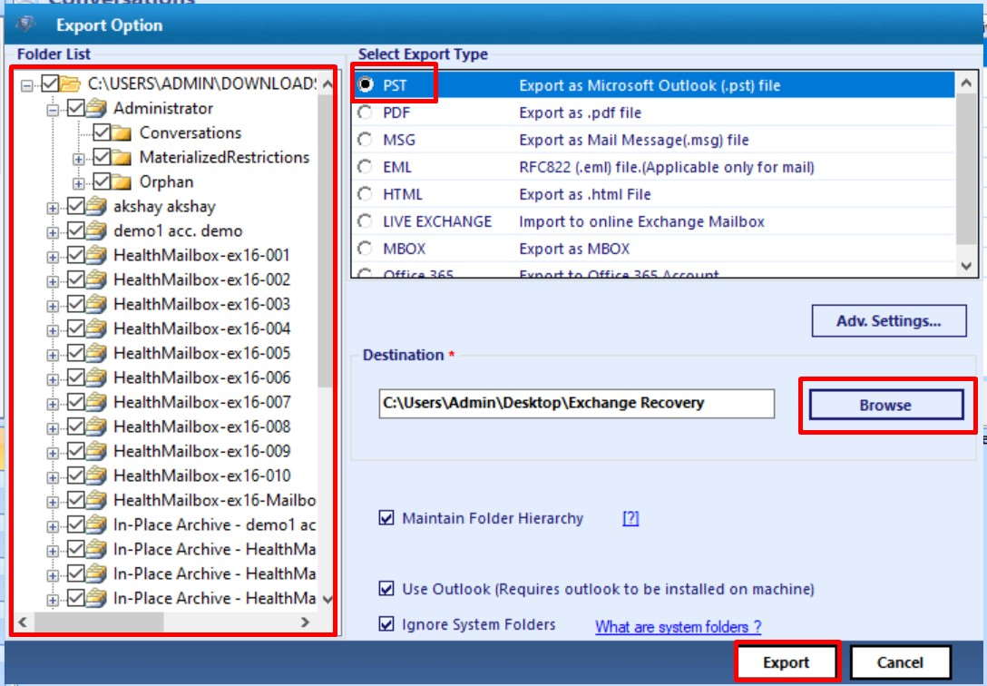 export the recovered exchange mailbox